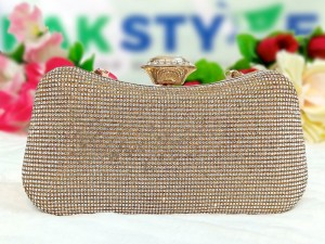 Luxury Diamante Crystal Golden Bridal Clutch Bag Price in Pakistan