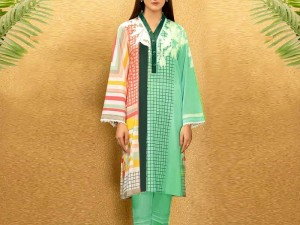 Trendy Neck Embroidered Lawn Dress 2021 with Chiffon Dupatta Price in Pakistan