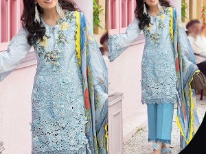 Heavy Schiffli Embroidered Lawn Eid Dress 2021 with Silk Dupatta Price in Pakistan