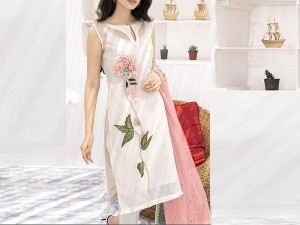 Luxury Embroidered Lawn Dress with Net Dupatta Price in Pakistan
