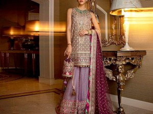 Glamorous Heavy Embroidered Purple Net Wedding Dress 2021 Price in Pakistan