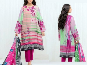 Digital Print Airjet Lawn Eid Dress 2021 with Digital Lawn Dupatta Price in Pakistan