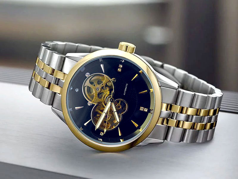 Men's Skeleton Automatic Two Tone Stainless Steel Watch - Blue Dial Price in Pakistan