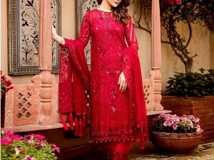 Heavy Embroidered Red Chiffon Party Dress Price in Pakistan