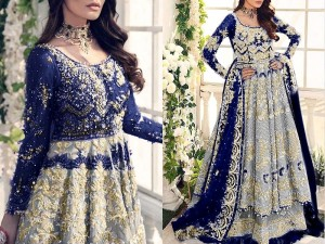 Handwork Heavy Embroidered Net Bridal Maxi Dress Price in Pakistan