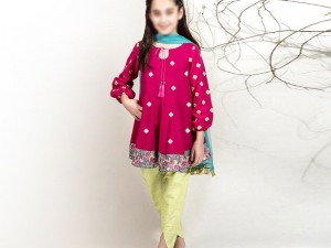 Kids Embroidered Eid Lawn Dress 2021 with Net Dupatta