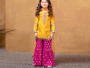 Kids Embroidered Eid Lawn Suit 2021 with Net Dupatta