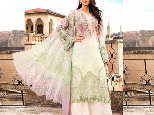 Luxury Embroidered Eid Lawn Dress 2021 with Chiffon Dupatta Price in Pakistan