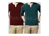 2 Henley T-Shirt Bundle Pack in Pakistan