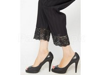 Black Cotton Cigarette Pants with Quraishya Lace in Pakistan