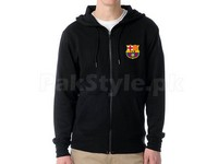 FCB Logo Zipper Hoodie - Black in Pakistan