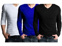 3 V-Neck Full Sleeves T-Shirts Price in Pakistan