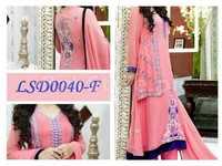 4 Piece Semi Stitched Embroidered Chiffon Suit in Pakistan