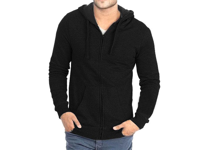 Plain Zip-Up Hoodie - Black in Pakistan