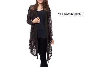 Ladies Net Shrug Black