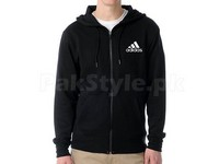 Adidas Logo Zip-Up Hoodie - Black in Pakistan