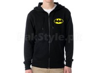 Batman Logo Zip-Up Hoodie - Black in Pakistan