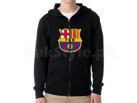 FCB Logo Zip-Up Hoodie - Black in Pakistan