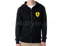 Ferrari Logo Zip-Up Hoodie - Black in Pakistan