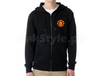 Manchester Logo Zip Hoodie - Black in Pakistan