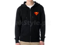 Superman Logo Zip Hoodie - Black in Pakistan