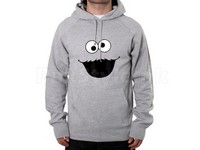 Cookie Monster Logo Pullover Hoodie - Grey in Pakistan