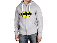 Batman Logo Zip-Up Hoodie - Grey in Pakistan
