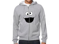 Cookie Monster Logo Zip-Up Hoodie - Grey in Pakistan