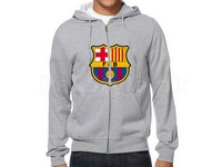 FCB Logo Zip-Up Hoodie - Grey in Pakistan