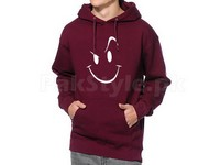 Naughty Smile Logo Pullover Hoodie - Maroon in Pakistan