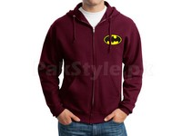 Batman Logo Zip-Up Hoodie - Maroon in Pakistan
