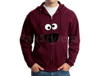 Cookie Monster Logo Zip-Up Hoodie - Maroon in Pakistan
