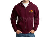 FCB Logo Zip-Up Hoodie - Maroon in Pakistan