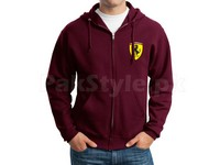 Ferrari Logo Zip-Up Hoodie - Maroon in Pakistan
