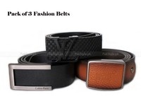 3 Pure Leather Belts Bundle Pack in Pakistan