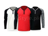 3 Y-Neck Full Sleeves T-Shirts Bundle Pack in Pakistan