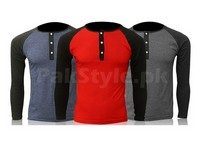 3 Henley Long Sleeve T-Shirts in Pakistan