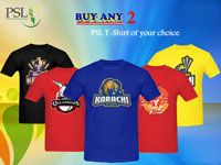 Pack of 2 PSL Team T-Shirts 2017 in Pakistan