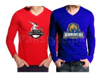 2 PSL Team V-Neck T-Shirts in Pakistan