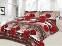 Red Flower Design King Size Bed Sheet in Pakistan