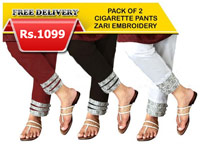 2 Zari Embroidered Cigarette Pants in Pakistan