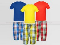 3 Plaid Shorts and 3 Plain T-Shirts in Pakistan