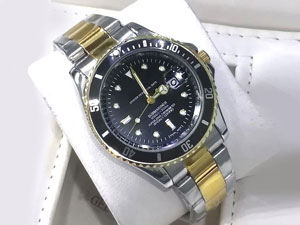 Heavy Steel Chain Submariner Two Tone Watch - Black