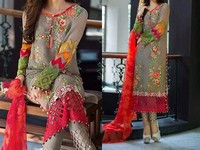 Multicolor Embroidery Chiffon Dress in Pakistan