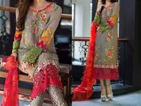 Multicolor Embroidery Chiffon Dress in Pakistan