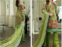 Green Chiffon Embroidered Dress in Pakistan
