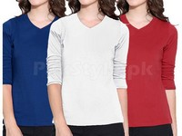 3 Full Sleeves Ladies T-Shirts Price in Pakistan