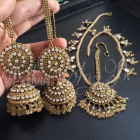 Designer Champagne Jhumkay With Matha Patti  in Pakistan
