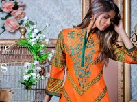 MTF Embroidered Lawn with Chiffon Dupatta 9-A Price in Pakistan
