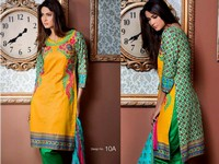 MTF Embroidered Lawn with Chiffon Dupatta 10-A in Pakistan
